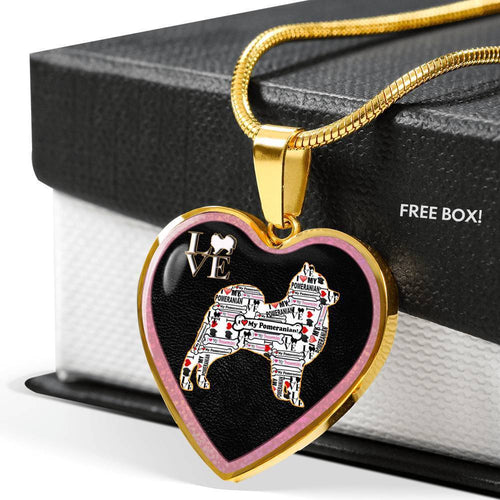 Pomeranian Dog Love Print Heart Charm Necklaces-Free Shipping