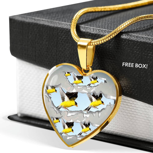 American Goldfinch Bird Print Heart Charm Necklaces-Free Shipping