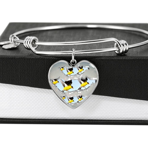 American Goldfinch Bird Print Heart Pendant Bangle-Free Shipping