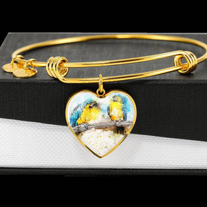 Blue And Yellow Macaw Parrot Art Print Heart Pendant Bangle-Free Shipping