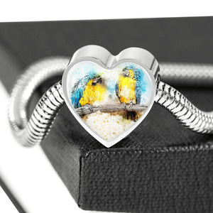 Blue And Yellow Macaw Parrot Art Print Heart Charm Steel Bracelet-Free Shipping