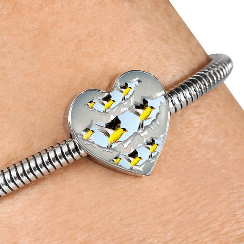 American Goldfinch Bird Print Heart Charm Steel Bracelet-Free Shipping