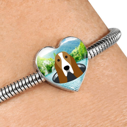 Basset Hound Dog Vector Print Heart Charm Steel Bracelet-Free Shipping