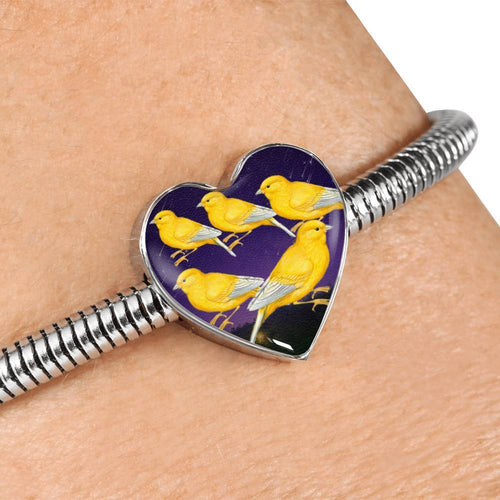 Domestic Canary Bird Print Heart Charm Steel Bracelet-Free Shipping