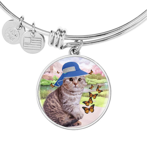 Scottish Fold Cat Print Circle Pendant Luxury Bangle-Free Shipping