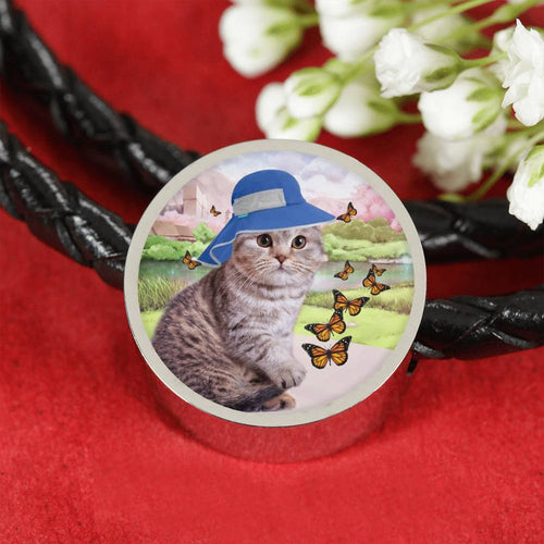 Scottish Fold Cat Print Circle Charm Leather Bracelet-Free Shipping