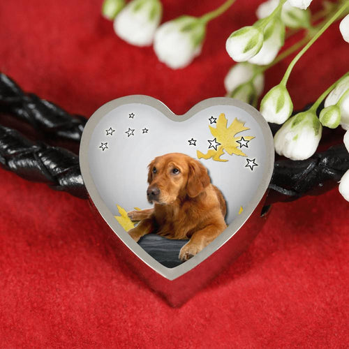 Golden Retriever Print Heart Charm Braided Bracelet-Free Shipping