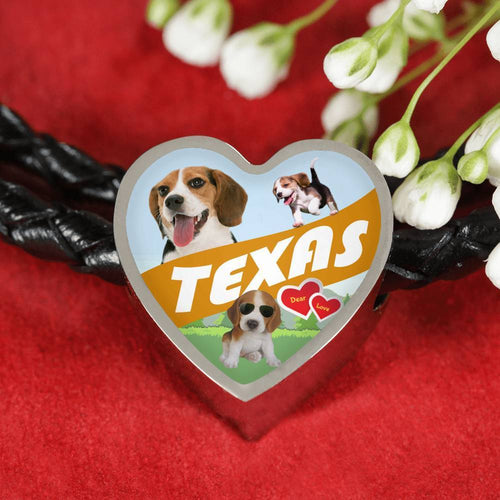 Cute Beagle Dog Print Texas Heart Charm Leather Bracelet-Free Shipping
