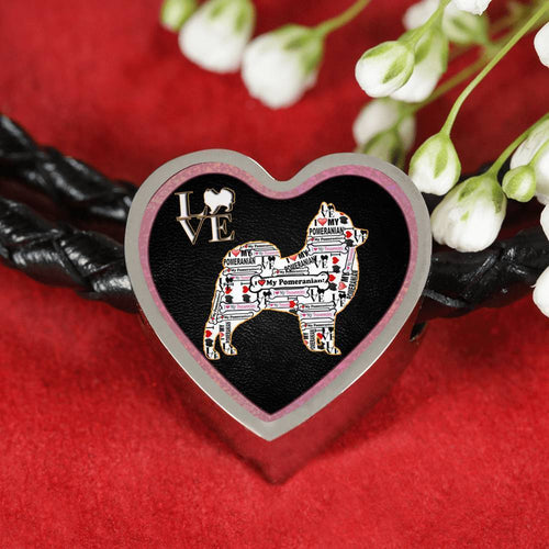 Pomeranian Dog Love Print Heart Charm Leather Woven Bracelet-Free Shipping