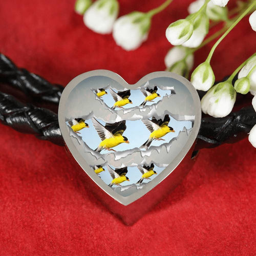 American Goldfinch Bird Print Heart Charm Leather Woven Bracelet-Free Shipping