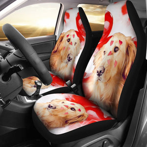 Golden Retriever With Heart Print Car Seat Covers- Free Shipping