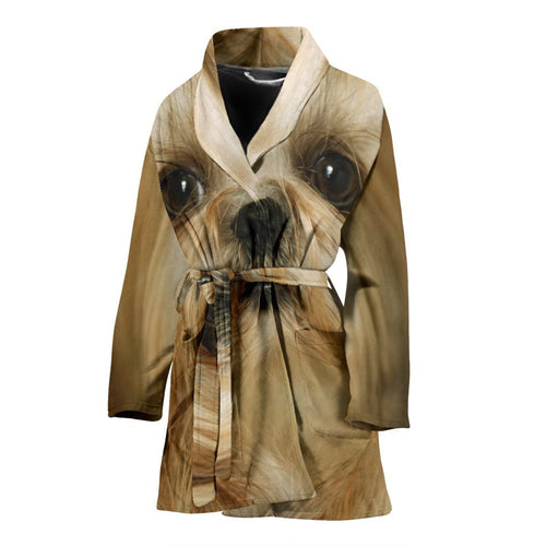 Shih Tzu Dog Print Women's Bath Robe-Free Shipping