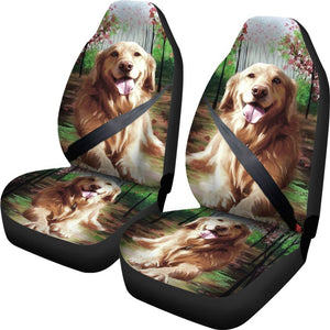 Golden Retriever Art Print Car Seat Covers- Free Shipping