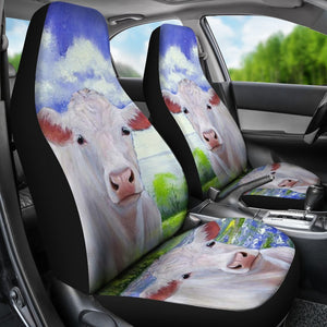 Charolais Cattle (Cow) Print Car Seat Covers- Free Shipping