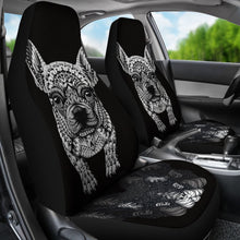 French Bulldog Art Print Black&White Car Seat Covers- Free Shipping
