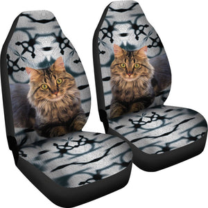Maine Coon Cat Print Car Seat Covers-Free Shipping