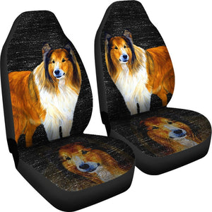Rough Collie Dog Print Car Seat Covers-Free Shipping