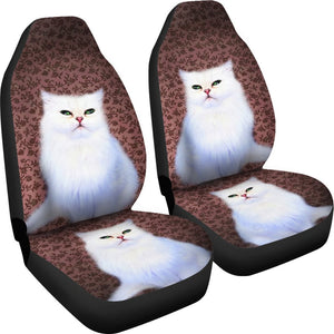 Cute White Persian Cat Print Car Seat Covers- Free Shipping