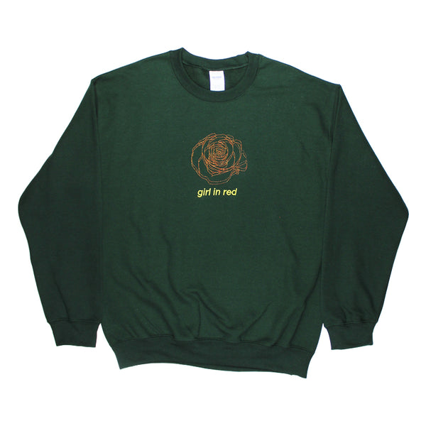 EMBROIDERED ROSE FOREST GREEN SWEATSHIRT