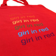 GIRL IN RED REPEAT RAINBOW LOGO RED TOTE