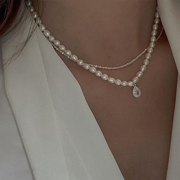 Charm Jewelry Fashion Wedding Party Pearl Double Layers Choker Necklace For Women 2021 New Jewelry Elegant Collares Gifts