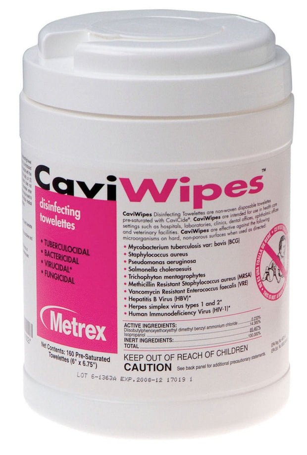 Caviwipes Disinfecting Wipes - 160 wipes/tub