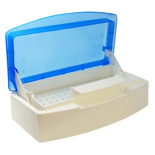 Small Disinfecting Tray with Blue Lid 8x4""