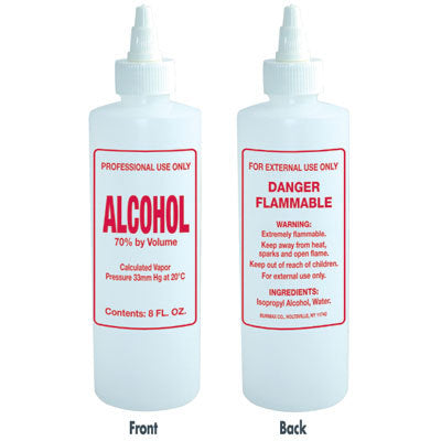 Plastic Solution Bottle with twist top - Imprinted Alcohol - 8 oz