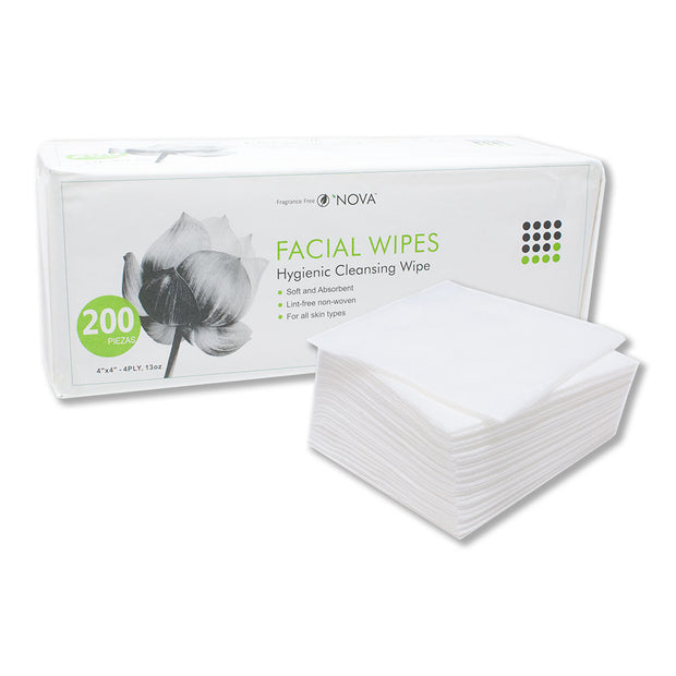 "Nova Facial Wipes 4x4"" 4-Ply - 200/PK"