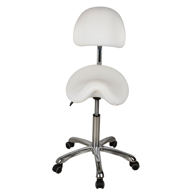 Esthetician Saddle Stool with Ergonomic Backrest