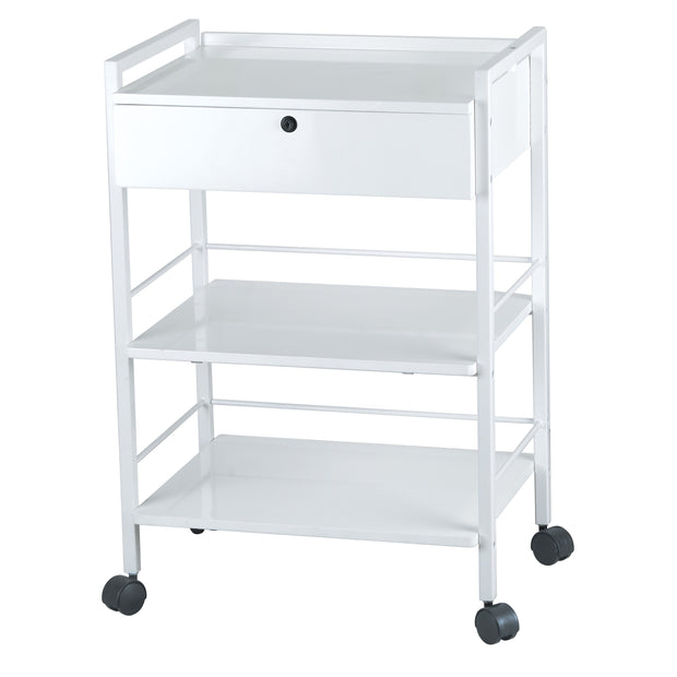 Spa Trolley with Metal Frame Two Shelves and Locking Drawer