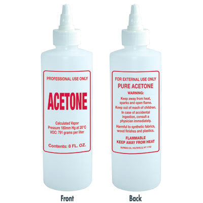 Plastic Solution Bottle with twist top - Imprinted Acetone - 8 oz