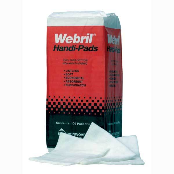 "Webril Cotton Pads 2-ply - 4"" x 4"" - 100/PK"