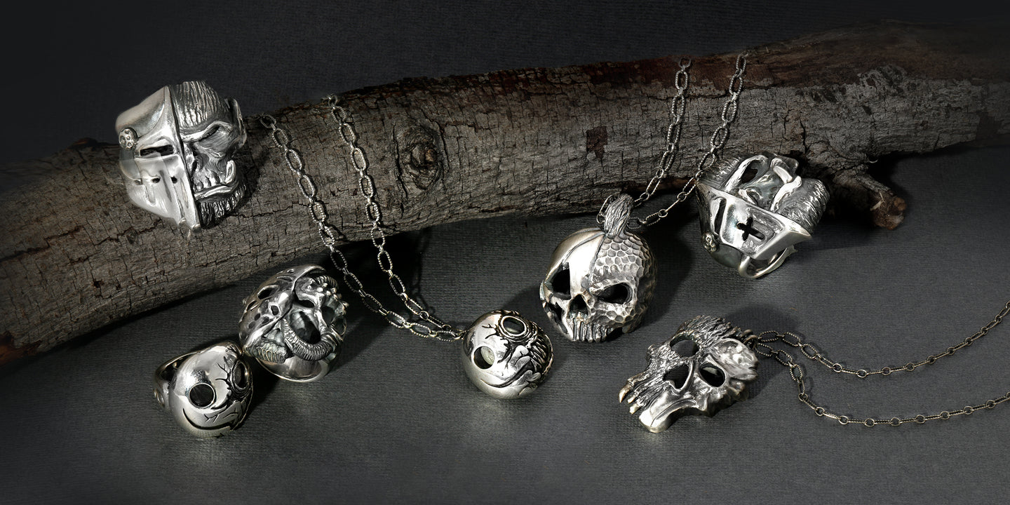 Skull jewelry gothic fashion jewelry The W Brothers skull collection jewelry skulls pendant rings chain dark evil halloween scary jewelry