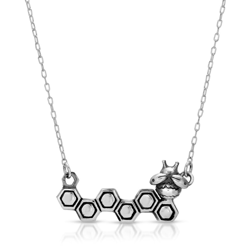 Honeycomb & Bee Necklace - The W Brothers crafted in premium grade a sterling silver available in real 18k gold or rose gold, and silver. Personalized engravings perfect for sentimental gifts for men and women fashion accessory. Available at www.thewbros.com