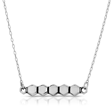 Honeycomb custom bar necklace by The W Brothers, honeycomb hexagon necklace custom engraved necklaces, silver custom engravable honeycomb hexagon necklace by the w bros, silver custom jewelry thewbros, silver hexagon honeycomb necklace jewelry by the w bros the w brothers silver bar necklace jewelry