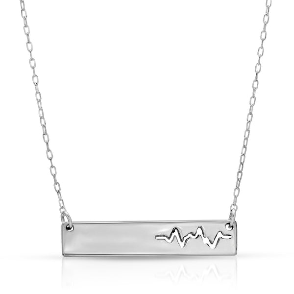 Heartbeat Bar Necklace - The W Brothers crafted in premium grade a sterling silver available in silver or real 18k gold and rose gold layering. Personalized engravings perfect for sentimental gifts to your boyfriend or girlfriend. Available at www.thewbros.com