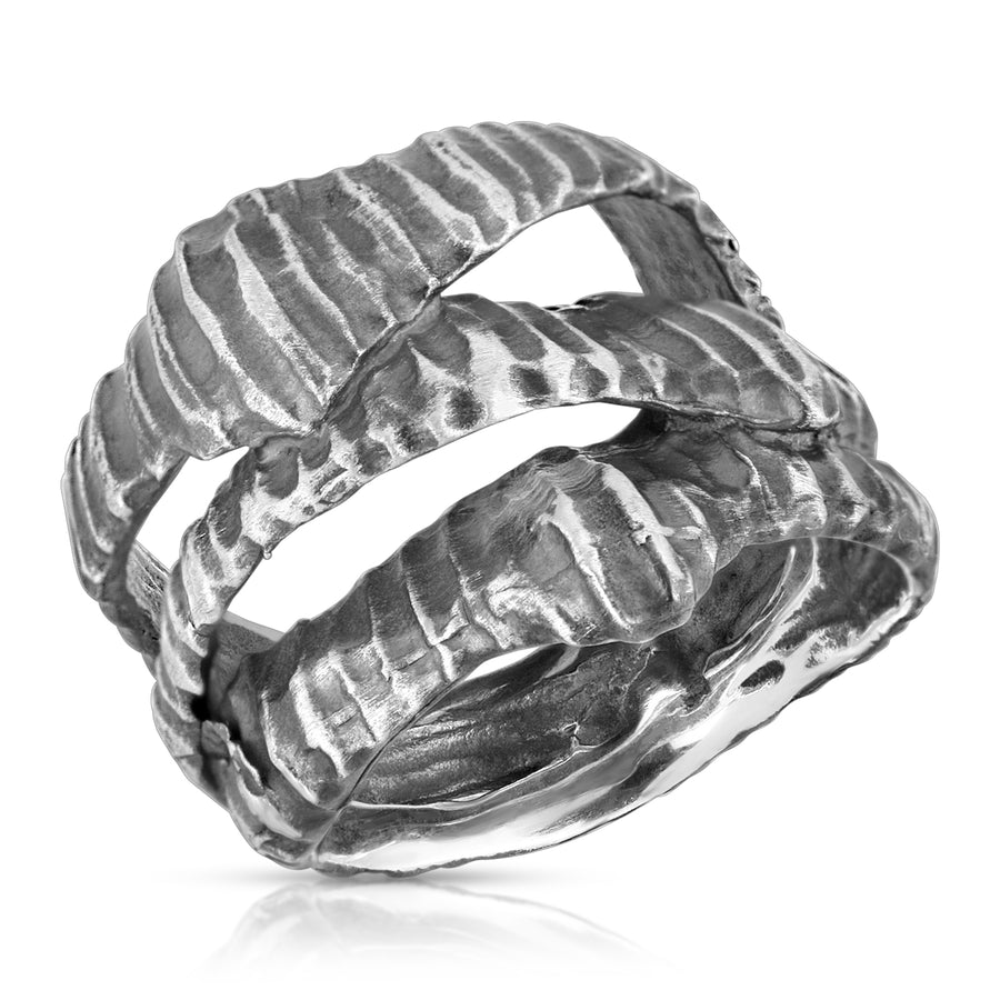 The W Brothers Atlantean Shell Ring with handcrafted details from premium grade 925 Sterling Silver. This one of a kind ring/piece is the perfect statement ring with an oxidized finish.