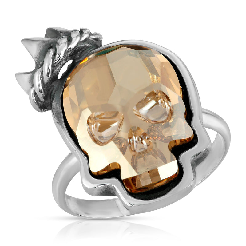 The W brothers Swarovski Skull Ring in clear gold with a gorgeous silver crown crafted from premium Grade A Sterling Silver. Perfect jewelry accessory ring for fashionable statement women. Available at www.thewbros.com