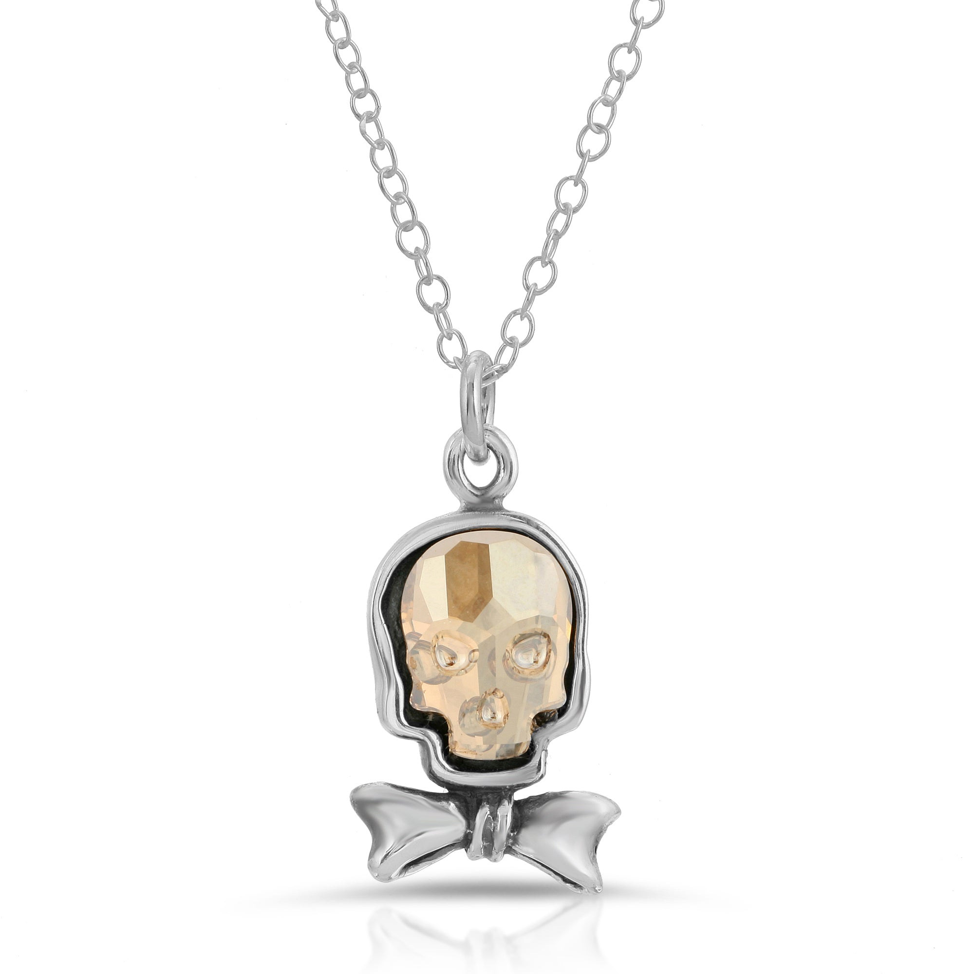 The W Brothers Clear Gold Bow-Tie Swarovski Skull Necklace Pendant crafted in premium Grade A 925 Sterling Silver for men and female fashion accessory. Perfect for a fashionable statement necklace for halloween jewelry.