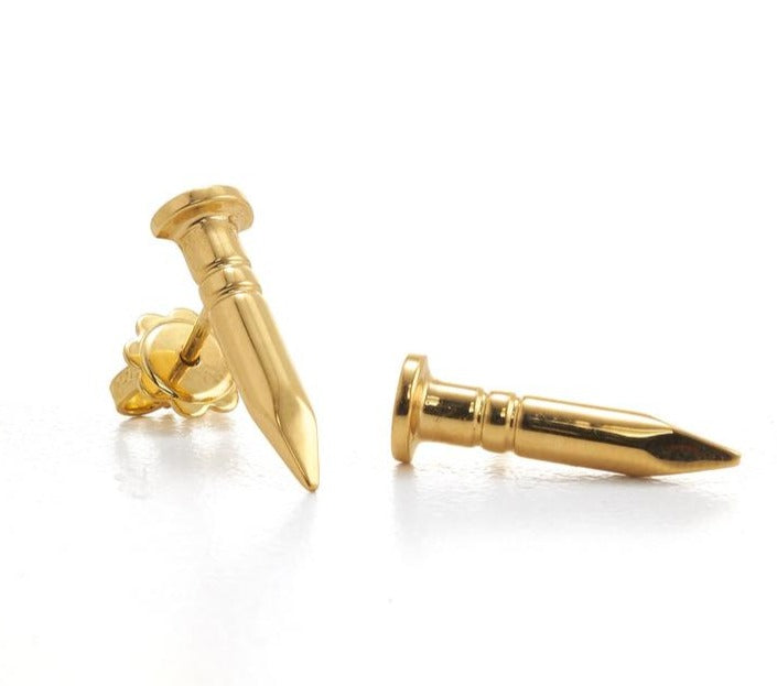 The W Brothers Solid 18K Gold Nail Earrings polished gold finish screw-back screw back unique modern fashion unique gold jewelry thewbros the w bros nail earrings solid 18k white gold yellow gold rose gold nail jewelry fashion nail studs earrings stud hot fashion gold jewelry silver jewelry 18k gold nail earrings thewbros solid 18k gold nail bracelet nail ring nail earrings nail collection screw-back