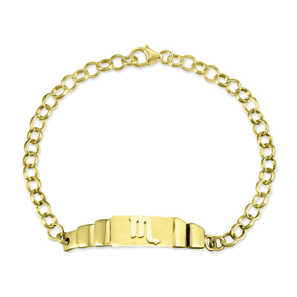 The W Brothers Sterling Silver Scorpio Zodiac Horoscope Bracelet in sterling silver but available in premium real 18k yellow gold, or rose gold. This bracelet is paired with a beautiful rollo chain bracelet, available at thewbros.com