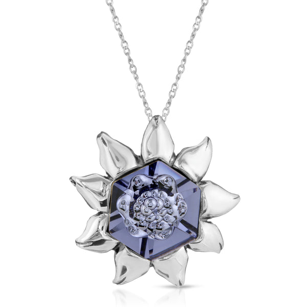 The W Brothers tanzanite swarovski blossom flower pendant necklace, premium A Grade 925 sterling silver necklace jewelry, thewbros hexagon tanzanite flower blossom fancy crystal, thewbrothers tanzanite silver blossom flower hexagon crystal necklace pendant