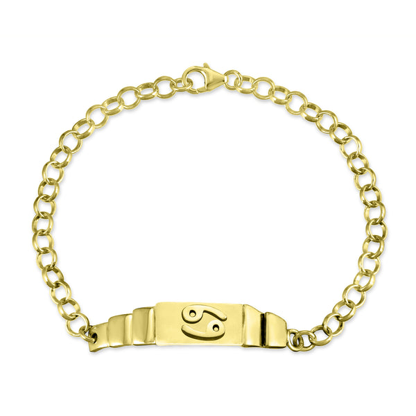 The W Brothers Sterling Silver Cancer Horoscope Zodiac Bracelet for male or unisex wear. Crafted to perfection in premium sterling silver, available in real 18k yellow gold or rose gold. Available at TheWBros.com