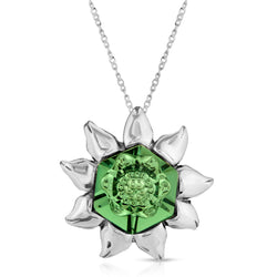 The W Brothers erenite swarvoski crystal flower blossom necklace, erenite pendant hexagon crystal necklace, tri-toned swarovski hexagon crystal blossom pendant, thewbros erenite flower blossom green crystal statement necklace piece by thewbrothers crafted with A Grade 925 sterling silver