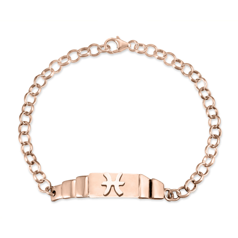 The W Brothers Sterling Silver Pisces horoscope zodiac bracelet paired with a sterling silver rollo chain bracelet. crafted in premium 925 sterling silver, available in premium real 18k gold or rose gold. Available at TheWBros.com