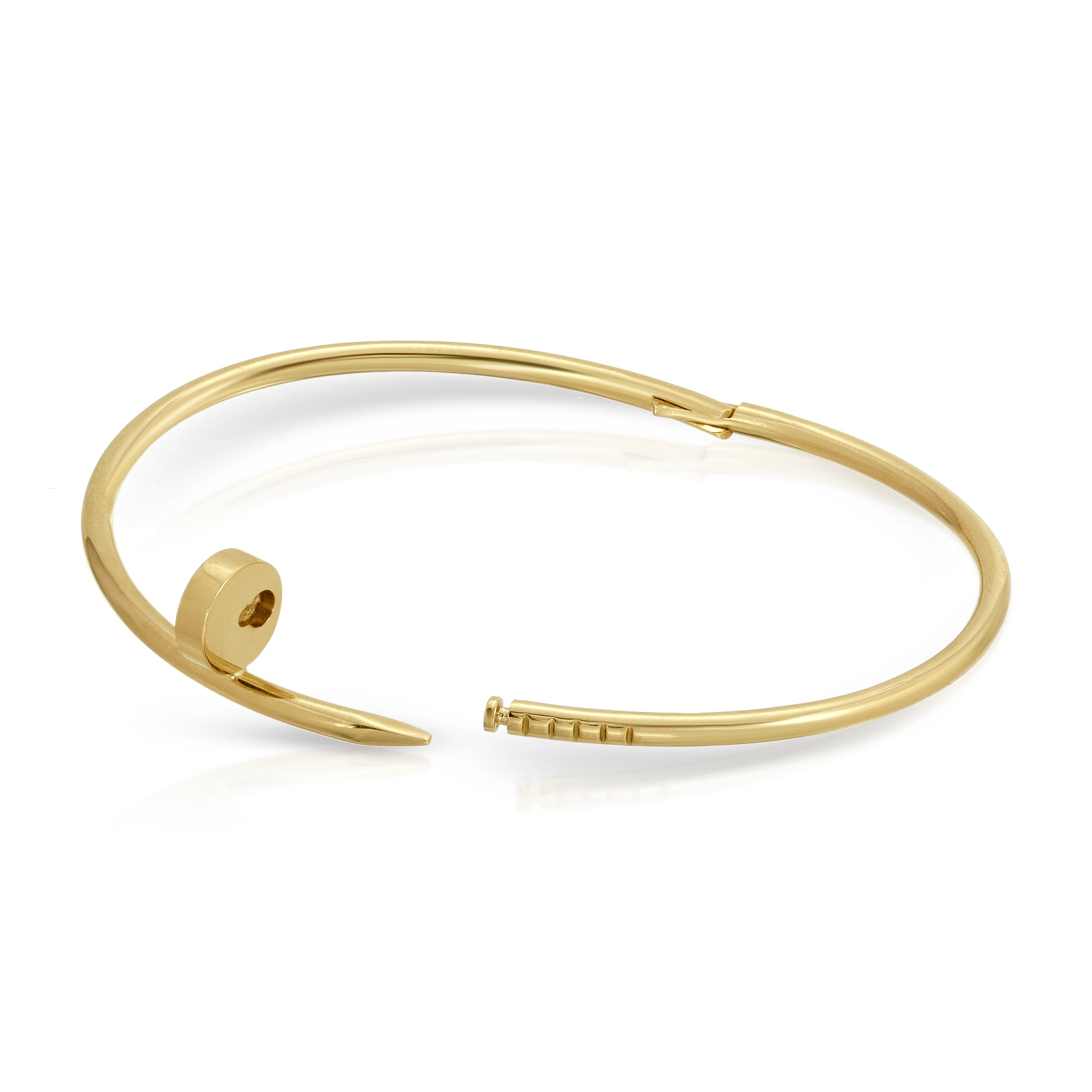 The W Brothers Nail Bracelet crafted excellently in Solid 18K Yellow Gold available in Solid 18K Yellow Gold, White Gold, & Rose Gold.  This gorgeous Cartier inspired Bracelet is elegant & modern for both men and female wear.