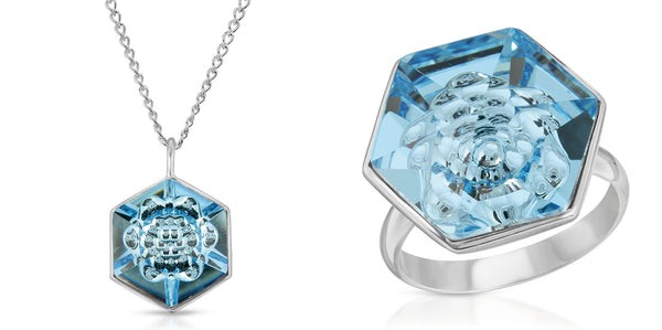 The W Brothers Hexagon Light Blue Aquamarine Swarovski Pendant Necklace in Silver for girls, women, men , and male. Available in our bundle package sale save big at www.thewbros.com