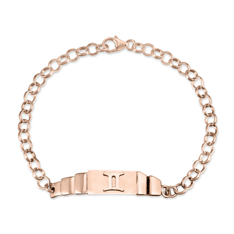 The W Brothers Gemini Zodiac Horoscope Bracelet paired with a sterling silver rollo chain bracelet. Crafted to perfection in 925 sterling silver, available in real 18k gold and rose gold. Shop your unique look at TheWBros.com