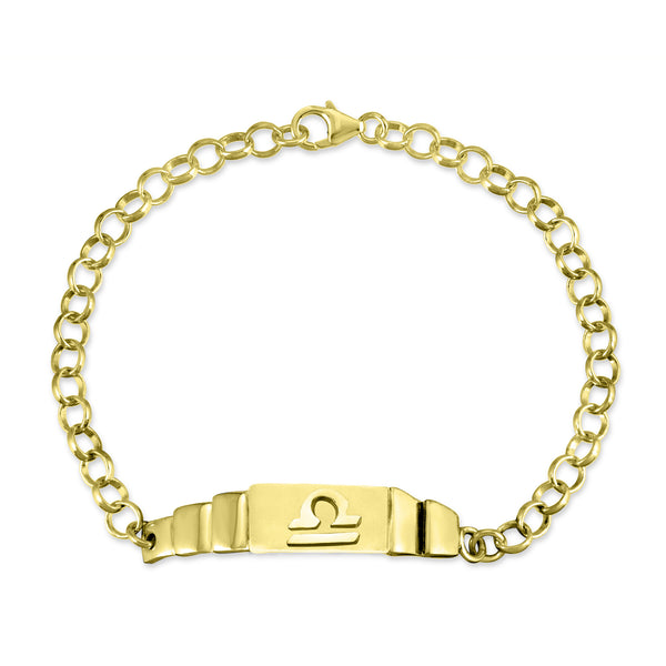 The W Brothers Libra Zodiac Horoscope Bracelet paired with a sterling silver rollo chain bracelet. Crafted to perfection in 925 sterling silver, available in real 18k gold and rose gold. Shop your unique look at TheWBros.com
